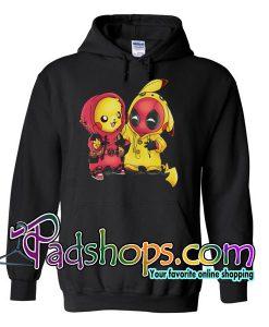 Baby Pikachu Pokemon and Deadpool Hoodie Unisex Adult