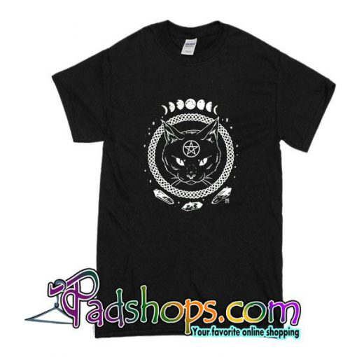 Gothic Moon Phase Witchcraft Cat T-Shirt