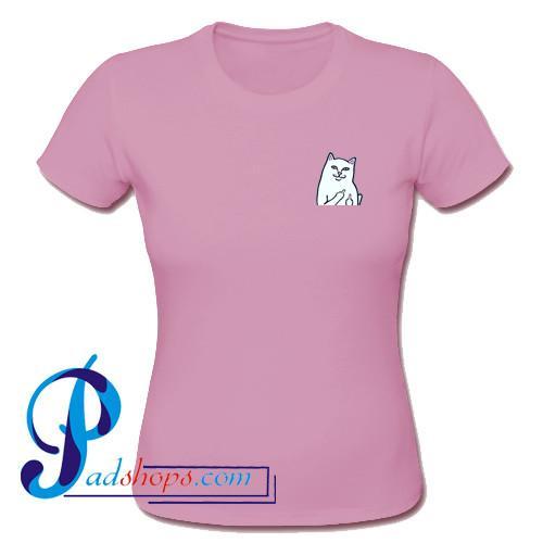 Middle Finger Cat Print Pocket T Shirt