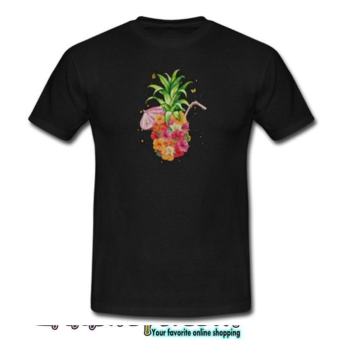 Pineapple Flowers Women Aloha Hawaii Vintage T shirt SL