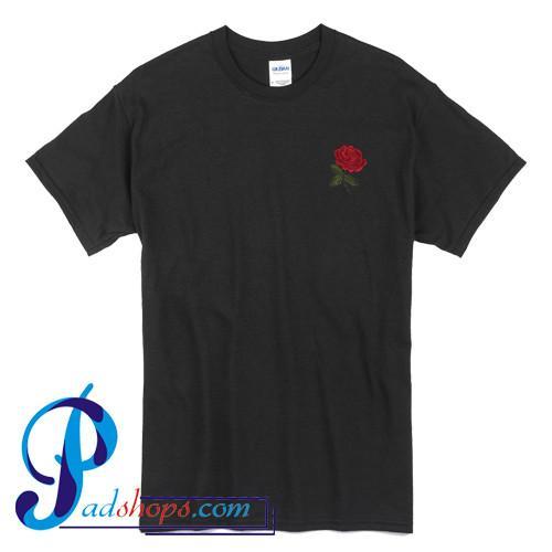 Red Rose Pocket Print T Shirt