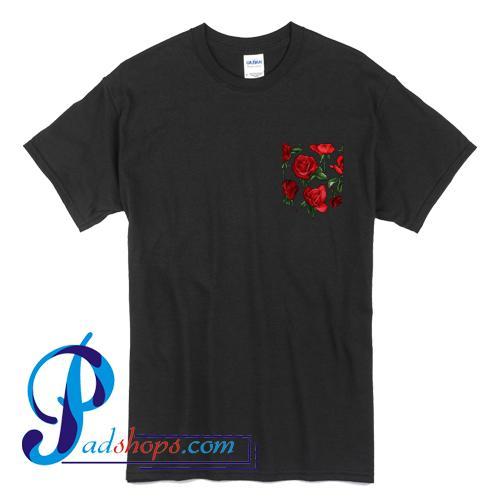 Red Roses Pocket Print T Shirt
