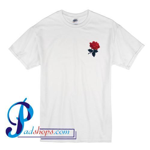 Rose Print Pocket T Shirt