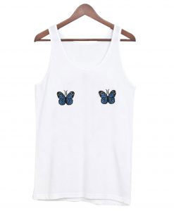 Blue Ribbed Butterfly Tank top Ad